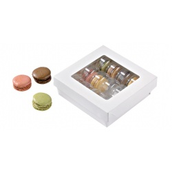 White Kray Square Brown Box With Window  5.5'' x 5.5'' x 2??- 250pcs