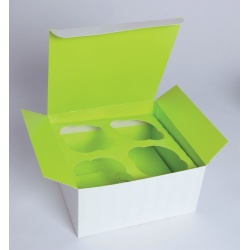 4 Piece Cupcake Box With Green Insert  6.7'' x 6.7'' x 3.4'' Ø 2.3'''' x 100 Pieces