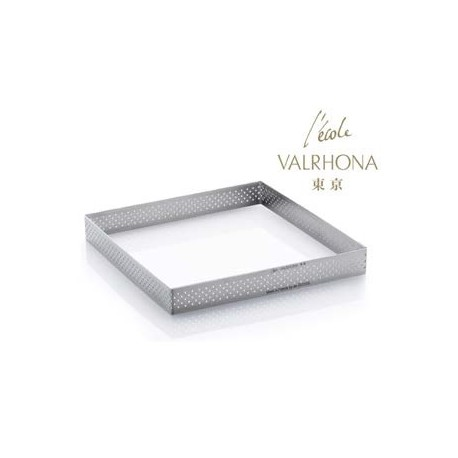 De Buyer L'Ecole Valrhona Stainless Steel Perforated Tart Ring - 3/4'' High Square L. 7 7/8''