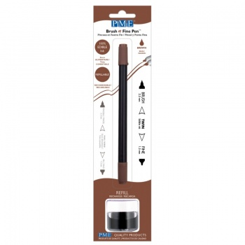 PME Brush & Fine Refillable Edible Pen with 8g Refill Jar - Brown