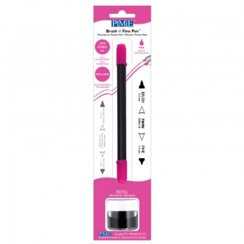 PME Brush & Fine Refillable Edible Pen with 8g Refill Jar - Pink