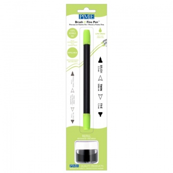 PME Brush & Fine Refillable Edible Pen with 8g Refill Jar - Lime Green