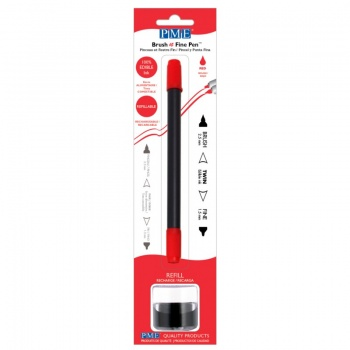 PME Brush & Fine Refillable Edible Pen with 8g Refill Jar - Red