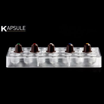 Polycarbonate Chocolate Mold - KAPSULE - PC36 - 21 Cavities - 10gr - 275mm x 135mm