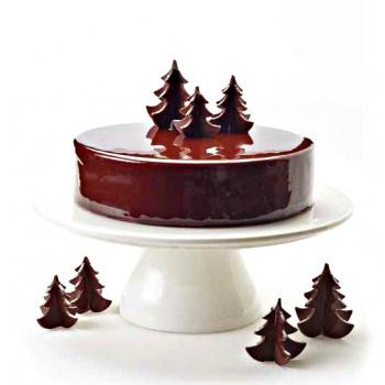 Rubber Chocolate chablons - Christmas Trees Clips - Medium 5.5cm x 5.5cm