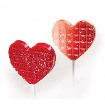 Polycarbonate Chocolate Heart Lollipop Mold - 8 pcs - 2 Molds Pack