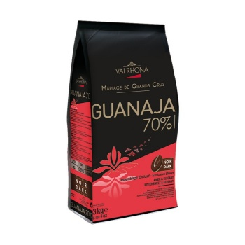 Valrhona Blended Origin Grand Cru Chocolate Guanaja 71% cocoa 28.5% sugar 42.2% fat content  - 1Lb.  - Feves