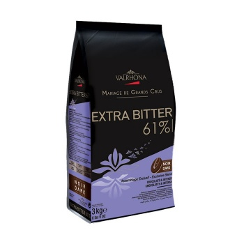Valrhona Blended Origin Grand Cru Chocolate Extra Bitter 61.5% cocoa 33.5% sugar 38% fat content - 3Kg - Feves