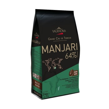 Valrhona Single Origin Grand Cru Chocolate Manjari 64% cocoa 35% sugar 39.4% fat content - 3Kg  - Feves