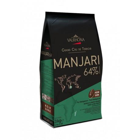 Valrhona Single Origin Grand Cru Chocolate Manjari 64% cocoa 35% sugar 39.4% fat content - 3Kg  - Feves