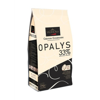 Valrhona White Chocolate Couverture Opalys 33% cocoa 32% sugar 44% fat content 32% milk - 3Kg - Feves
