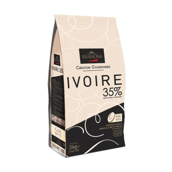 Valrhona White Chocolate Couverture Ivoire 35% cocoa 43% sugar 41.1% fat content 21.5% whole milk - 1Lb - Feves