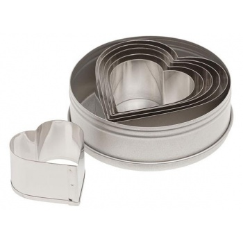 Ateco Plain Heart Stainless Steel Cookie Cutter Set - 6pcs