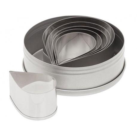 Ateco Plain Tear Drop Stainless Steel Cookie Cutter Set - 7pcs