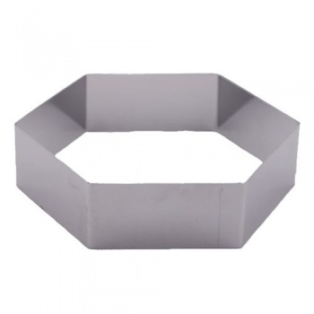 "Pastry Rings Hexagon Stainless Steel 8"" x 2"""