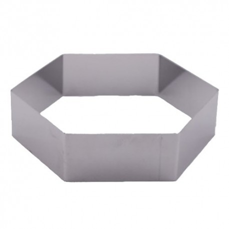 "Pastry Rings Hexagon Stainless Steel 9"" x 2"""