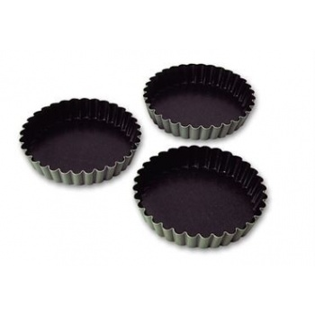 Aluminum Non-Stick Fluted Tartlet Mold - 3 3/8'' Diam. - Pack Of 12