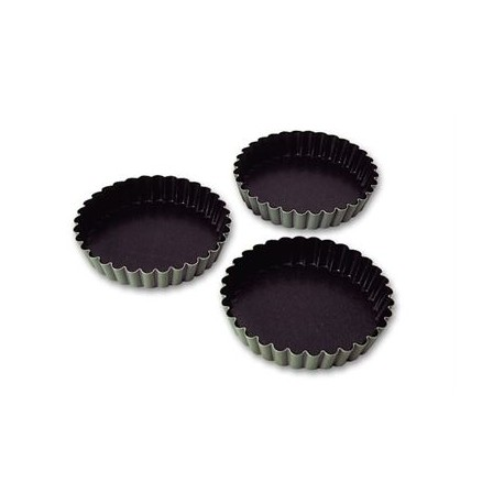 Aluminum Non-Stick Fluted Tartlet Mold - 3 3/8'' Diam. - Pack Of 12