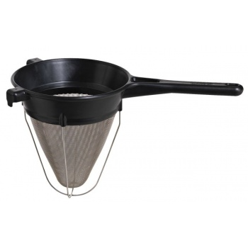 "Matfer Bourgeat Exoglass Bouillon Strainer 8"" Diameter - Black"