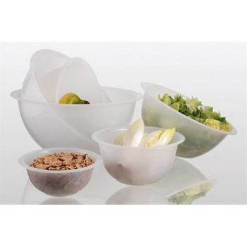 Matfer Bourgeat White Polypropylene Hemispherical Bowl 9 1/2'' - 2.5 Liters
