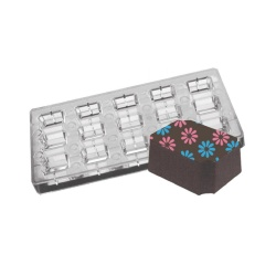 "Polycarbonate Chocolate Magnetic Mold - Indented Corner Rectangle - 1.34""x.59"" x .59"" - 15 pcs"