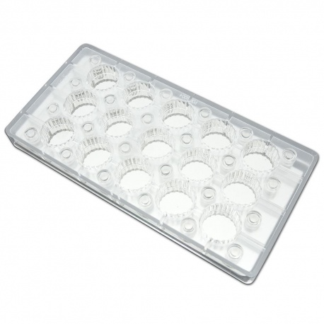 "Polycarbonate Chocolate Magnetic Mold - Fluted Round - 1.26"" x .59"" - 15 pcs"