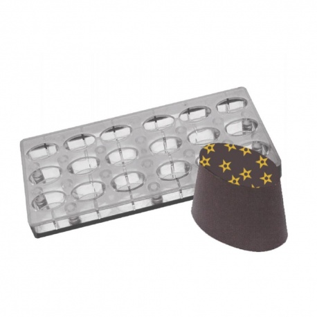 """Polycarbonate Chocolate Magnetic Mold - Angled Oval - 1.26"""" x .59"""" - 18 pcs"""