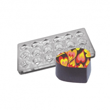 """Polycarbonate Chocolate Magnetic Mold - Heart - 1.26"""" x 1.14"""" x .59"""" - 18 pcs"""