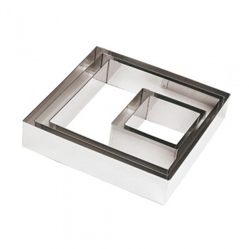 Stainless Steel 7 7/8'' Square Pastry Ring - 7.875 x 7.875 x 1.875