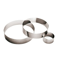 Round Stainless Steel Pastry Rings - 2 3/8 - 2.375 x 2.375 x 1.125 - Set of 6