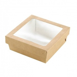 Kray Square Brown Box With Window 5.5'' x 5.5'' x 2?? - 250pcs