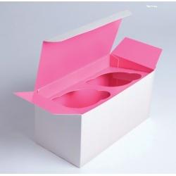 2 Piece Cupcake Box With Pink Insert  6.7'' x 3.4'' x 3.4''  Ø 2.3'''' x 100 Pieces