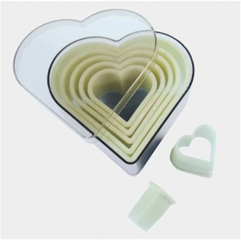 De Buyer Plain Cookie Cutters Set «Heart» - 7pcs