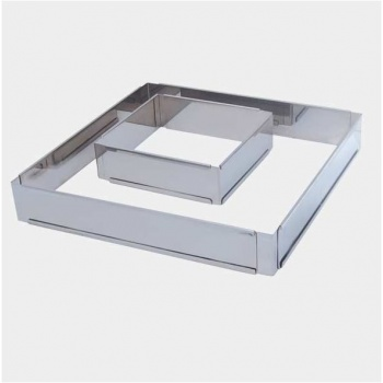 De Buyer Stainless Steel Adjustable Pastry Frame - Square - 6 1/4''x6 1/4''x  2'' To 11 7/8''x 11 7/8''