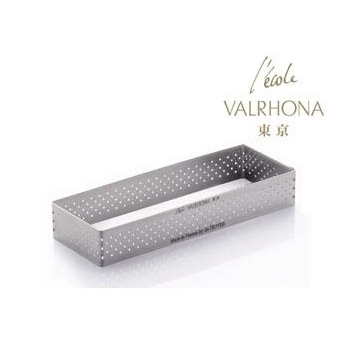 De Buyer L'Ecole Valrhona Stainless Steel Perforated Tart Ring - 3/4'' High Rectangle 4 3/4''X1 1/2''