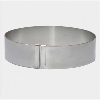 De Buyer Supple Stainless Steel Giant Extensible Pastry Ring - Round ? From 7'' To 14 1/8'' H. 1 3/4''