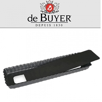 De Buyer Non-stick Fluted Rectangular Tart with Removable bottom - 14.4''x4.1''x1.1''
