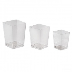 Small Square Disposable Verrine Containers - 1.7 oz. -1.625'' x1.625'' x 2.125'' - 100pcs