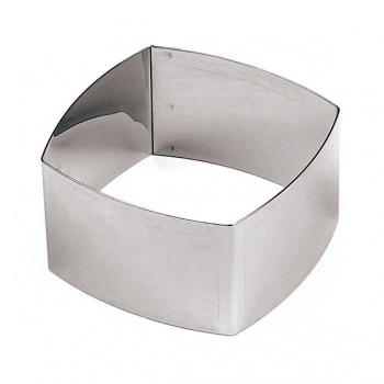 Rounded-Edge Square Stainless Steel Pastry Rings - 3 1/8 - 3.125 x 3.125 x 1.75 - Set of 6