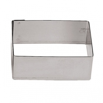 Rectangle Stainless Steel Pastry Rings - 2 3/8 x 2 - 2.375 x 2 x 1.125 - Set of 6