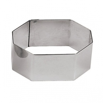 Hexagon Stainless Steel Pastry Rings - 2 3/8 - 2.375 x 2.375 x 1.125 - Set of 6