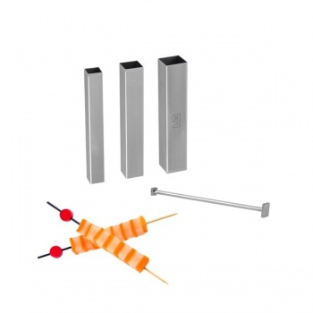 Food Designer Stainless Steel Set of 3 Square Cutters + 1 Two Sided pusher