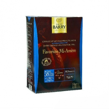 Cocoa Barry Chocolate Couverture Favorite Mi-Amere 58% cocoa 38.2% fat content - 11Lbs