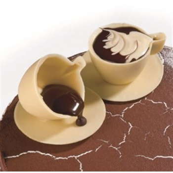3 Cups Saucers Chocolate Polycarbonate Molds - 18 Cavity -