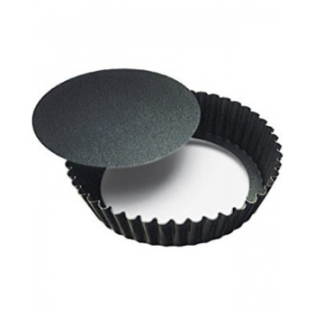 "Deep Fluted Non-Stick Round Tart Pan Removable Bottom - 9 1/2"" X 2"""