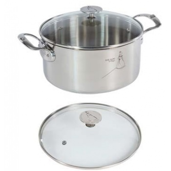 De Buyer Stewpan Stainless Steel MILADY with glass lid ø 9'' - 5.7qt