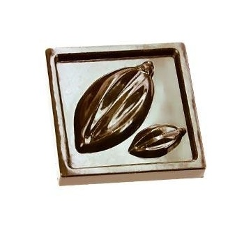 Polycarbonate Chocolate Mold - Napolitain Cocoa Pod Squares - 21 Cavities - 36x36x9mm- 9g