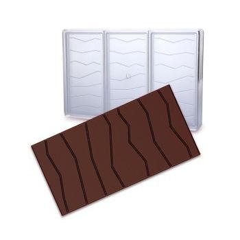 Polycarbonate Chocolate Bars Mold - Cracked Bar - 3 Cavities -