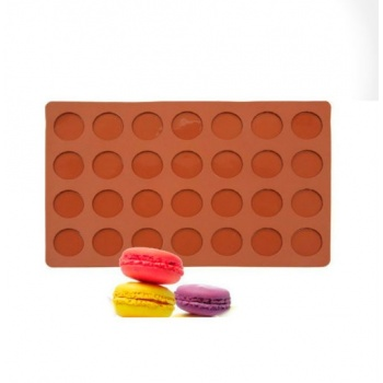 Chocolate Chablon, Macarons Silicone Mat - Round Ø 25 mm - 28 Indents - 175mm x 300mm