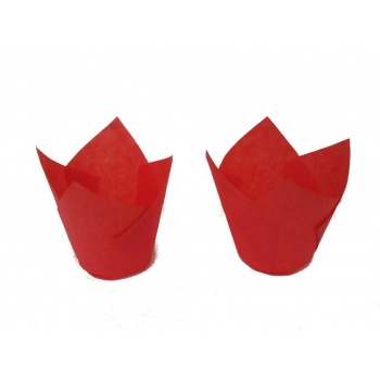 Tulip Disposable Baking Cup Medium - Red - 2''x3.15'' - 200pcs